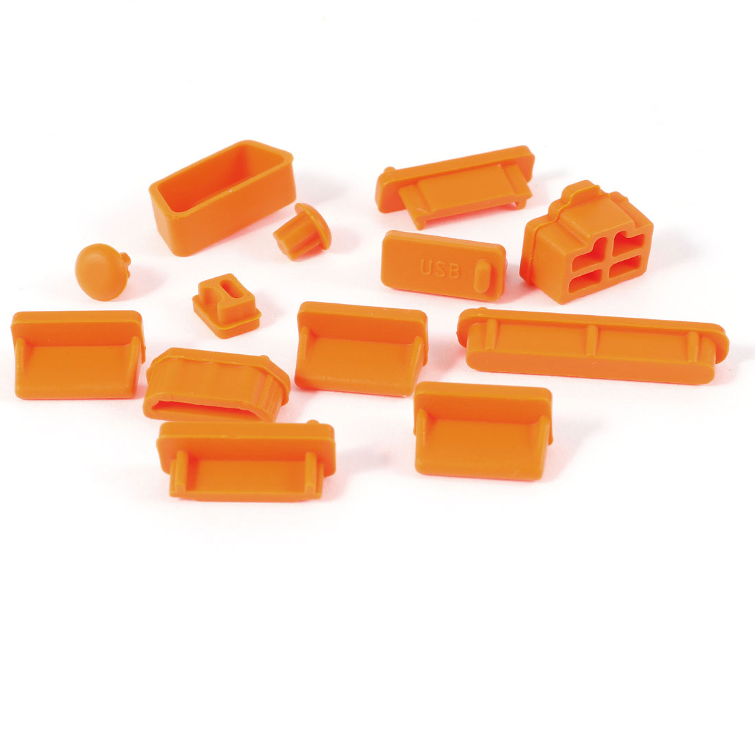 12pcs Silicone Ports Protector Cover Anti-Dust Plug Stopper Orange for Laptop