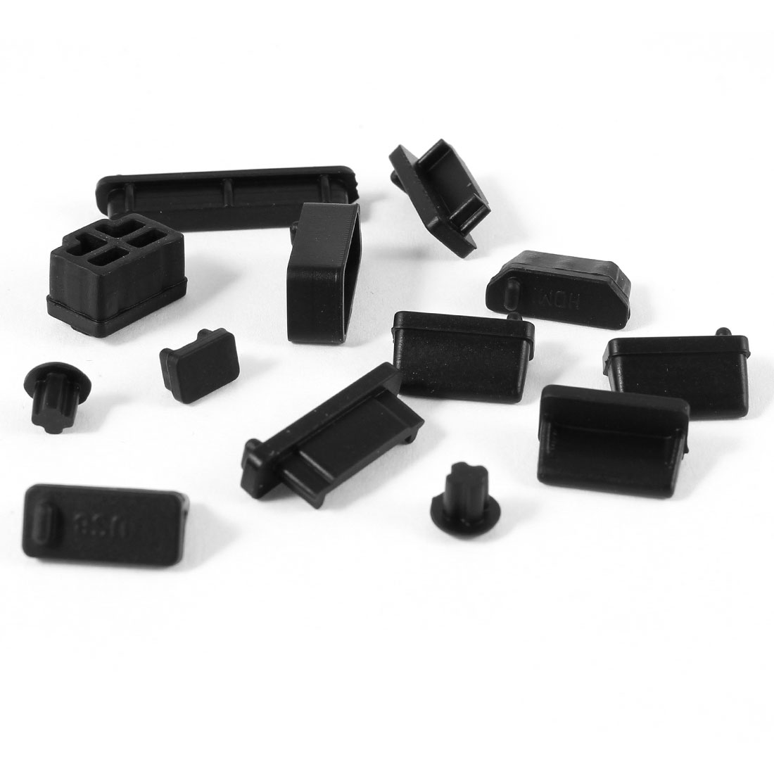 12pcs Silicone Ports Protector Cover Anti-Dust Connector Stopper Black for Laptop