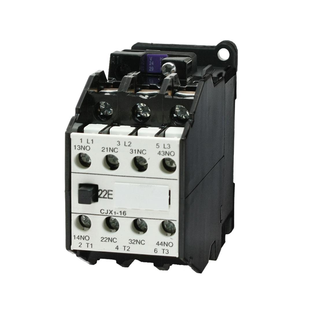 2NO + 2NC AC Contactor 24V 50Hz 29V 60Hz Coil 2 Pole CJX1-16A