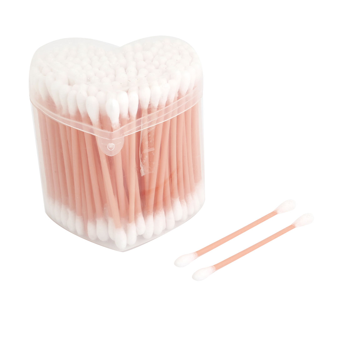 120 Pcs Disposable Double Head Light Pink Plastic Tube Cotton Swab Buds