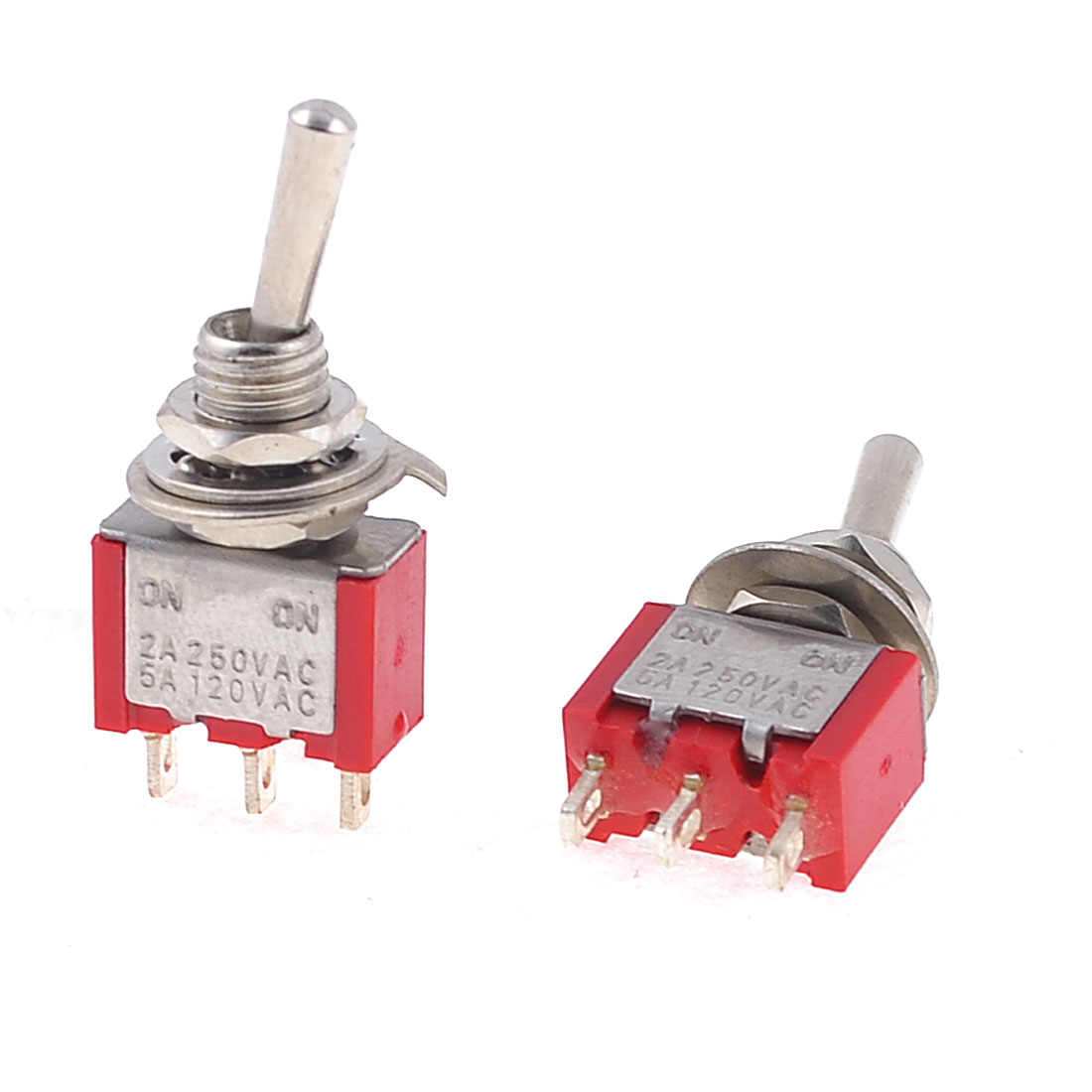 2 Pcs 250VAC 2A 120VAC 5A N/O Normally Open Momentary Pushbutton Switch Red