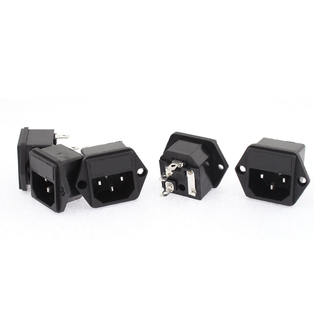 5pcs IEC 320 C14 Male Plug Inlet Panel Socket Connector 15A 250V w Fuse Holder