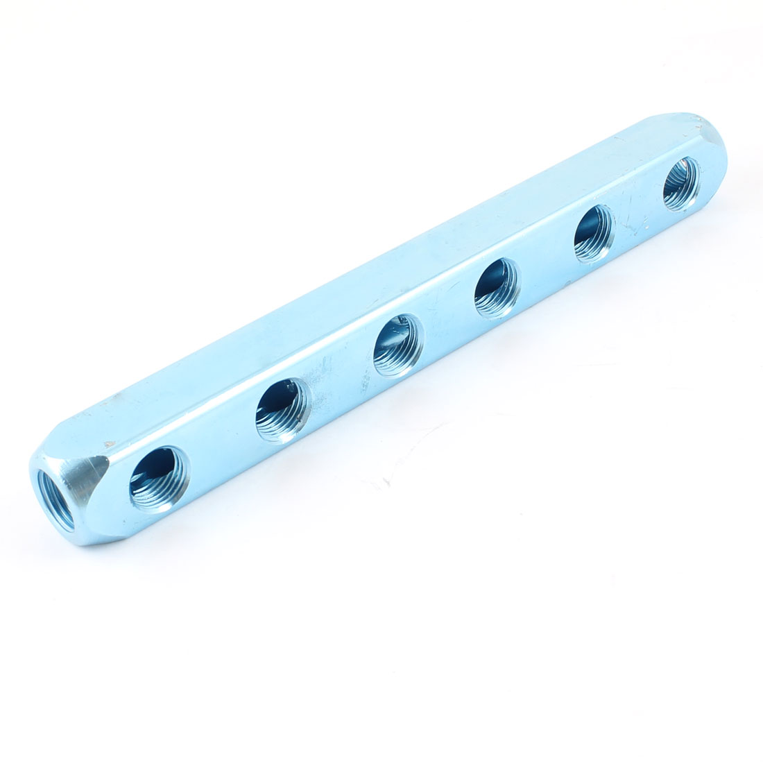 Aluminum Quick Connect 6 Outlet Air Manifold Splitter Teal Blue