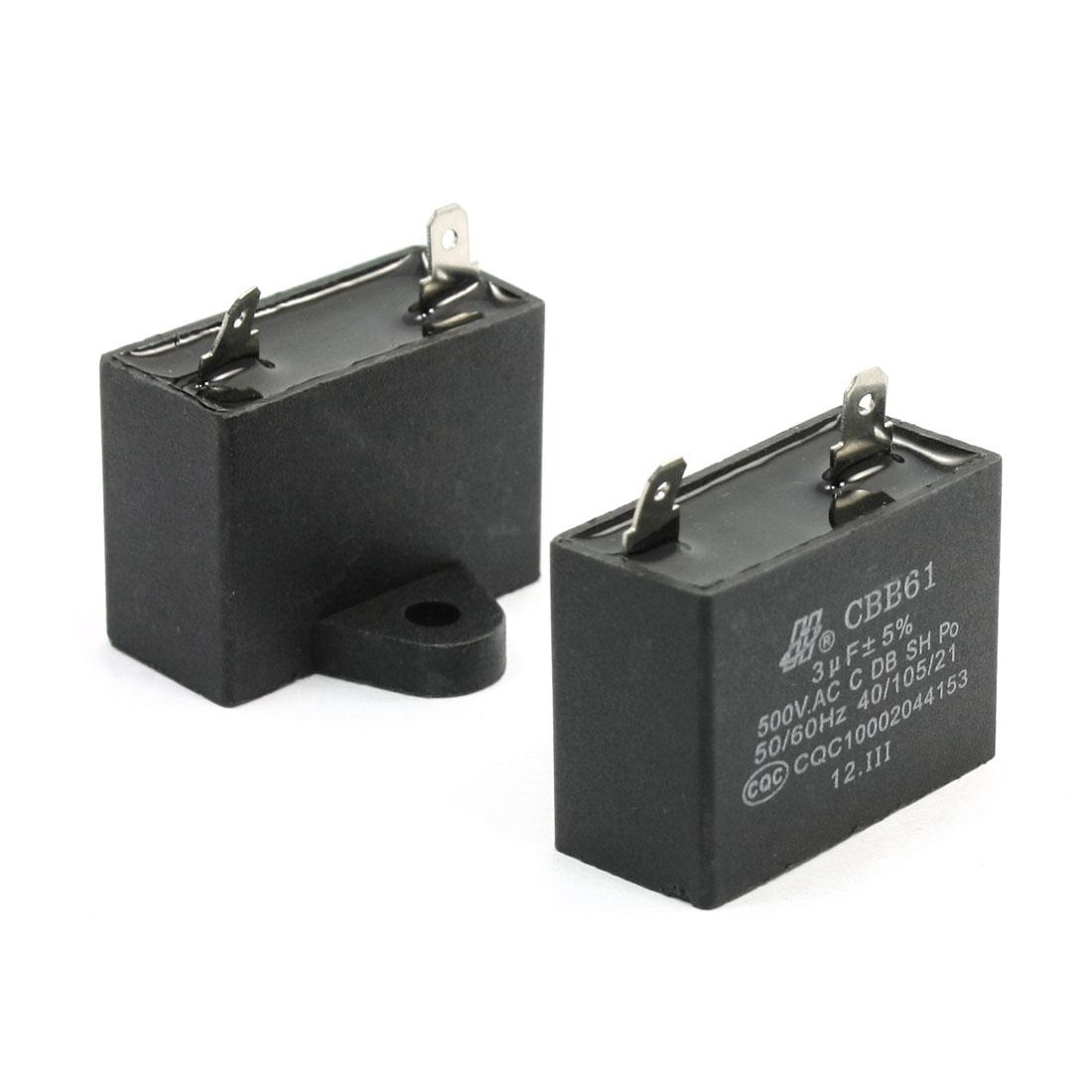 CBB61 3uF 500VAC 2 Terminal Polypropylene Film Motor Run Capacitor 2 Pcs