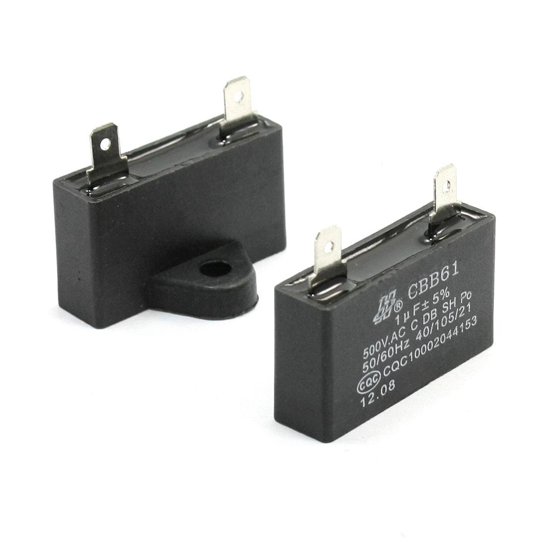 2 Pcs CBB61 2 Terminal Motor Running Capacitor Solder 500VAC 1uF