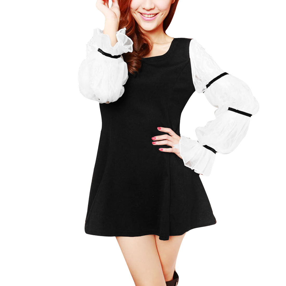 Lady Round Neck Long Sleeve Patchwork Elastic Black White Dress XS