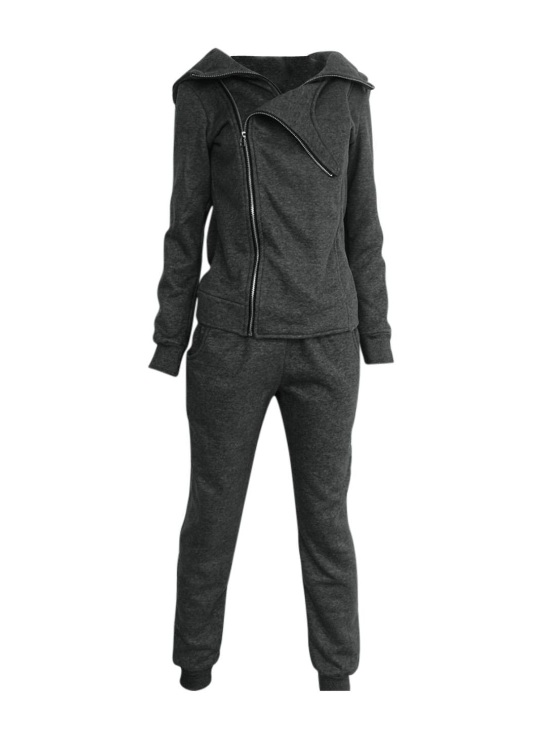 Women Hooded Long Sleeve Hoodie & Stretchy Waist Pants Dark Gray XS