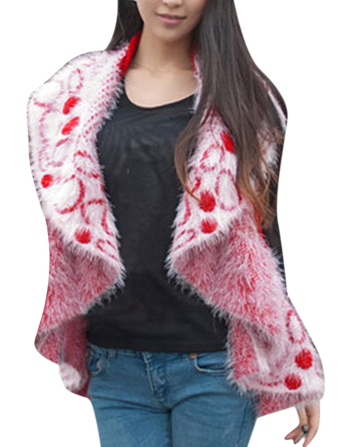 Ladies' Stylish Shawl Collar Soft Spliced Red Plush Vest S