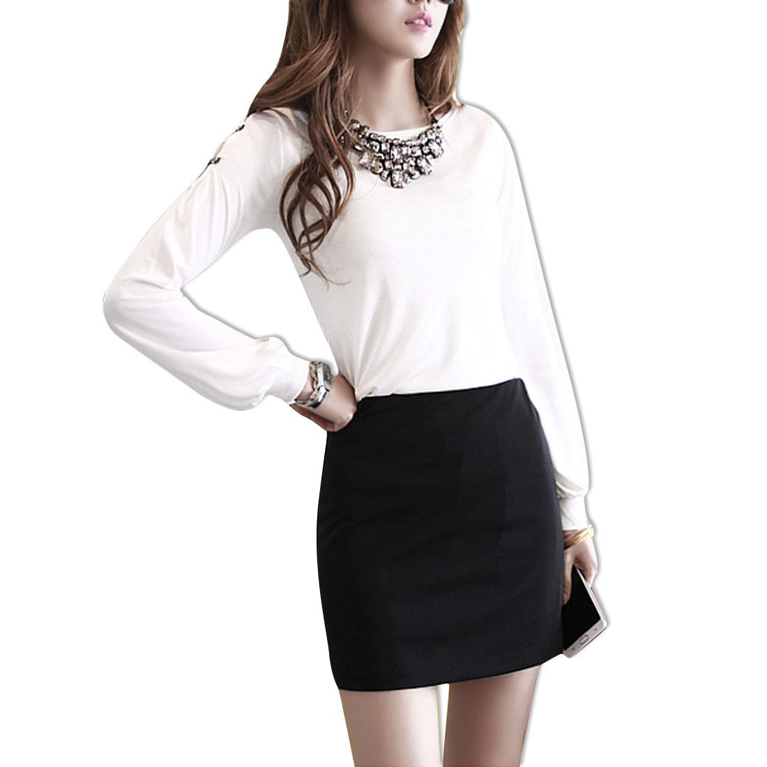Women Rivet Shoulder Long Sleeves White Slim Fit Top Shirt XS