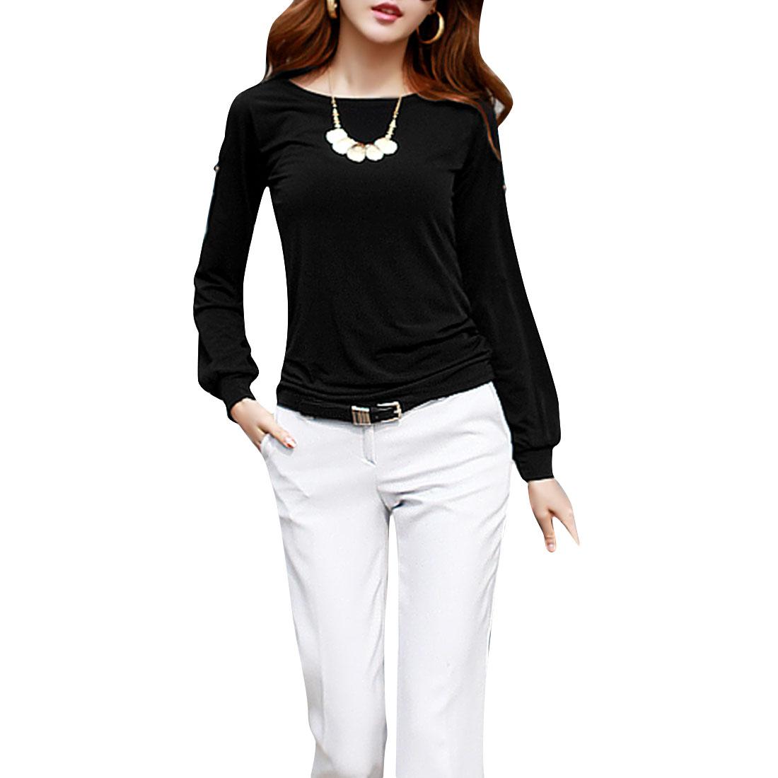 Lady Scoop Neck Cut Out Shoulder Detail Slim Black Tee Shirt XS