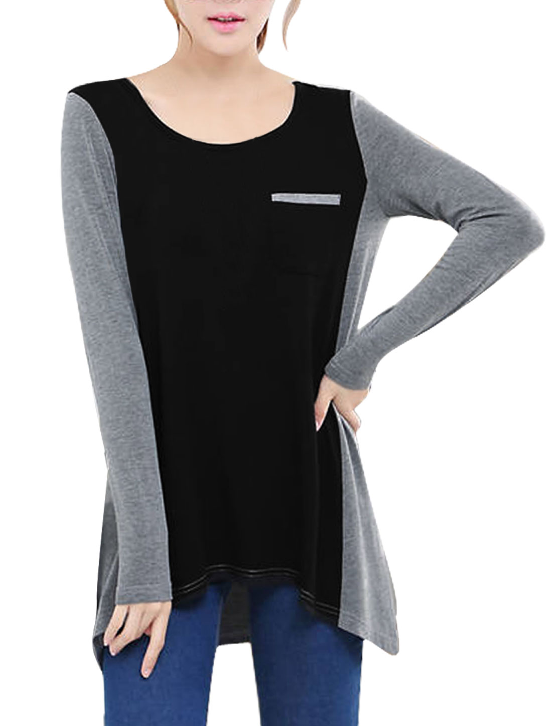 Spliced Design Casual Soft Irregular Hem Black Gray Shirt For Lady S