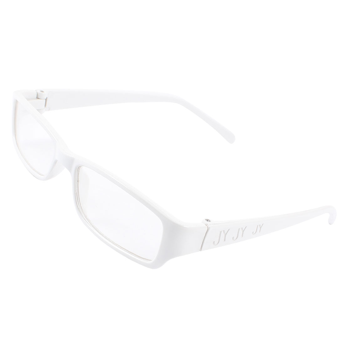 Women Plastic Frame Rectangle Clear Lens Eyewear Plain Glasses White
