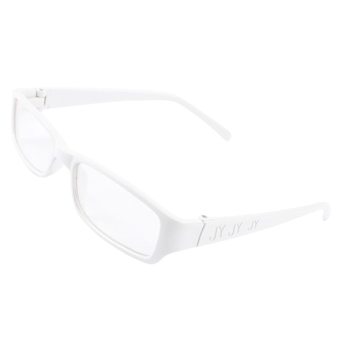 Women Plastic Frame Rectangle Clear Lens Eyewear Plain Glasses White
