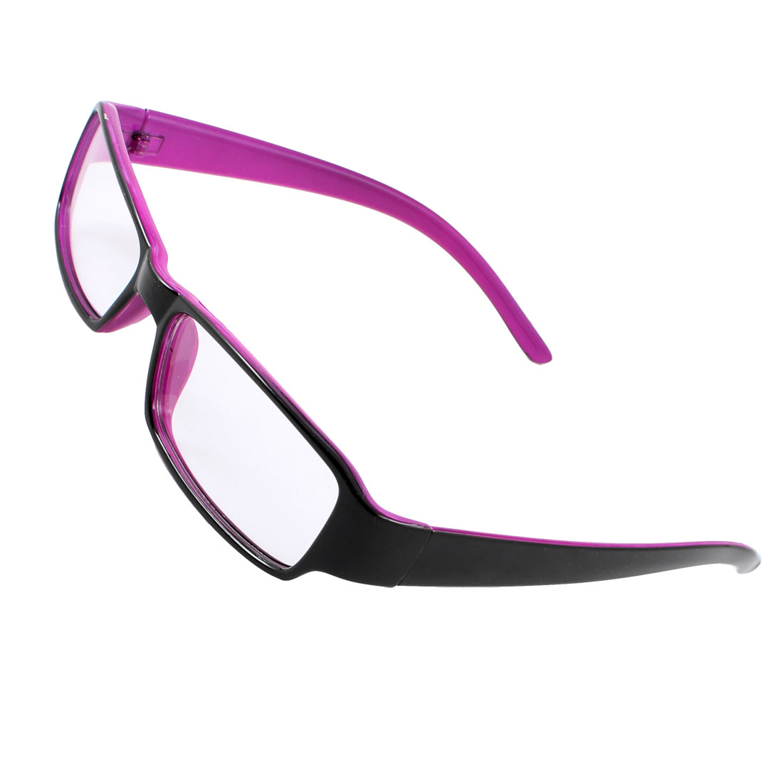 Women Eye Decor Plastic Frame Rectangle Clear Lens Plain Glasses Black Fuchsia
