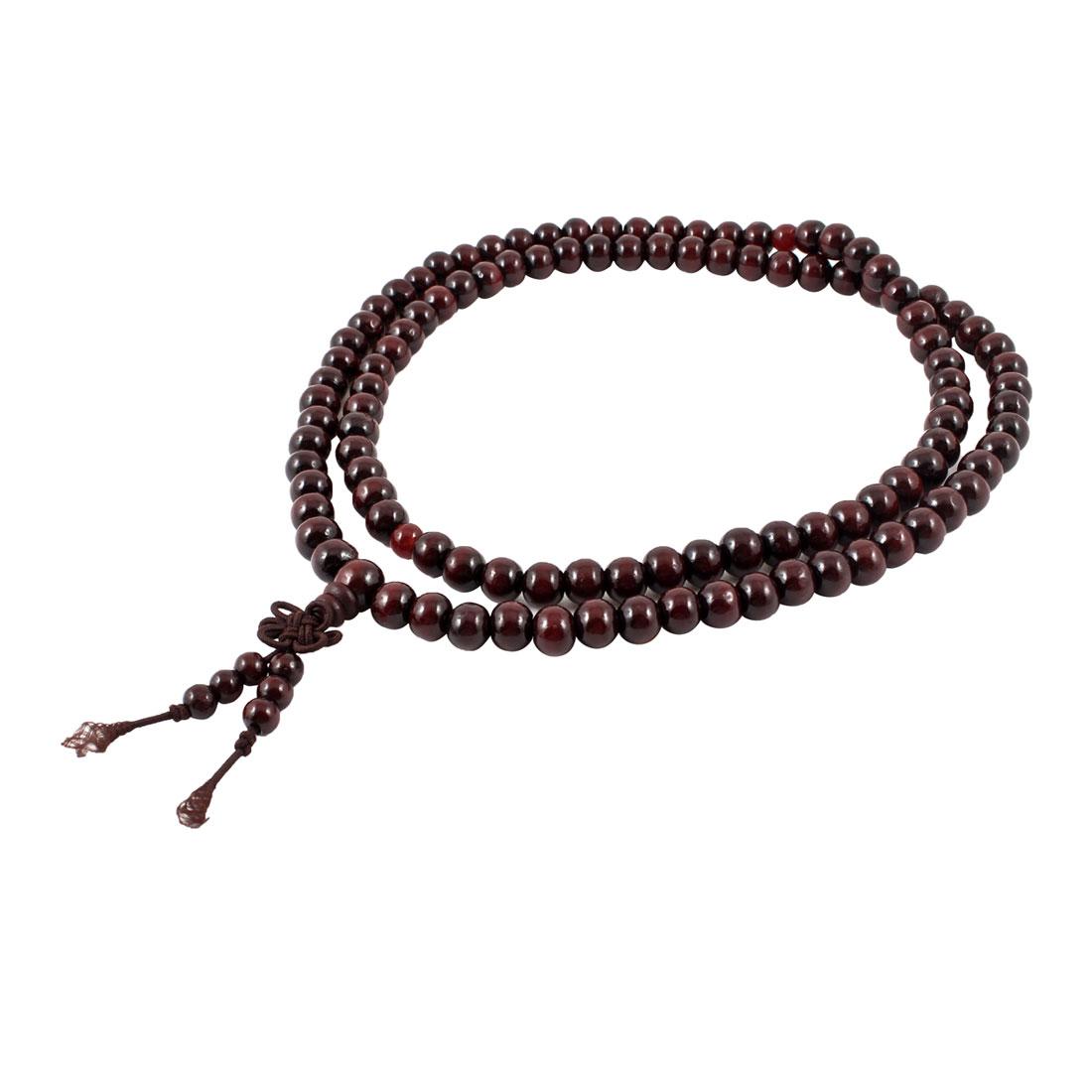 Multifunction Round Beads Elastic Sandalwood Mala Necklace Dark Brown
