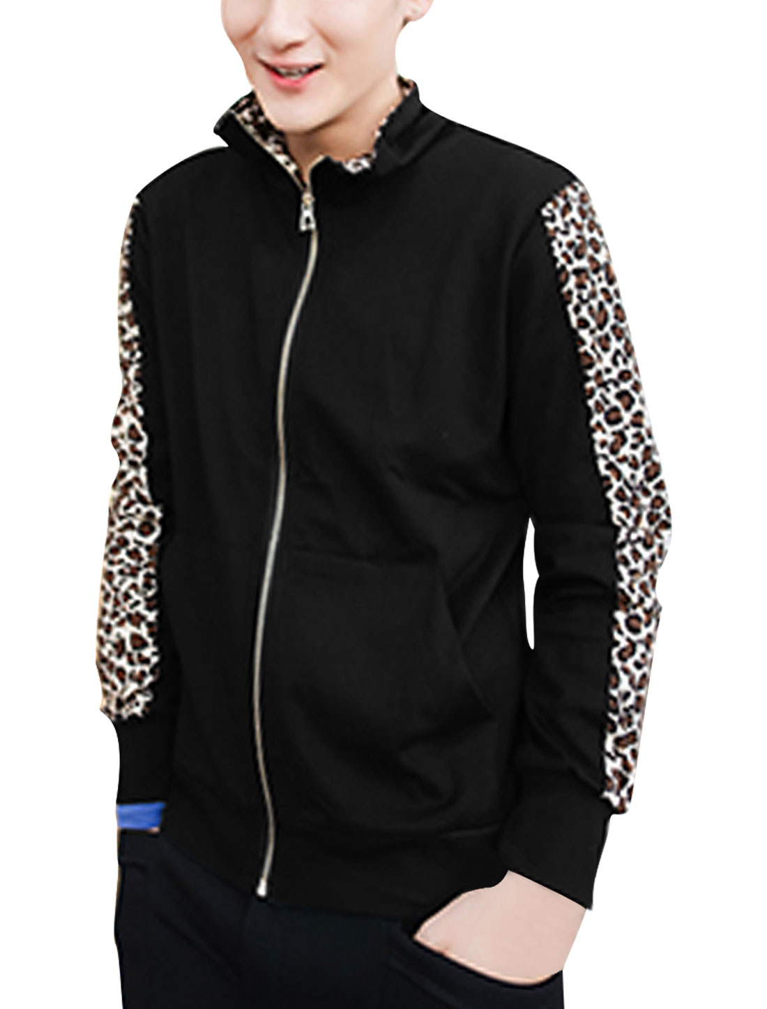 Man Stand Collar Long Sleeve Leopard Pattern Splice Black Cardigan Jacket M
