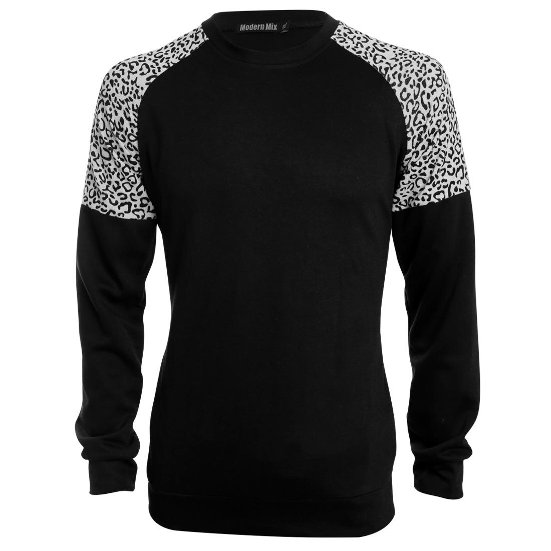 Man Black Round Neckline Long Sleeve Panel Leopard Pattern Shirt S