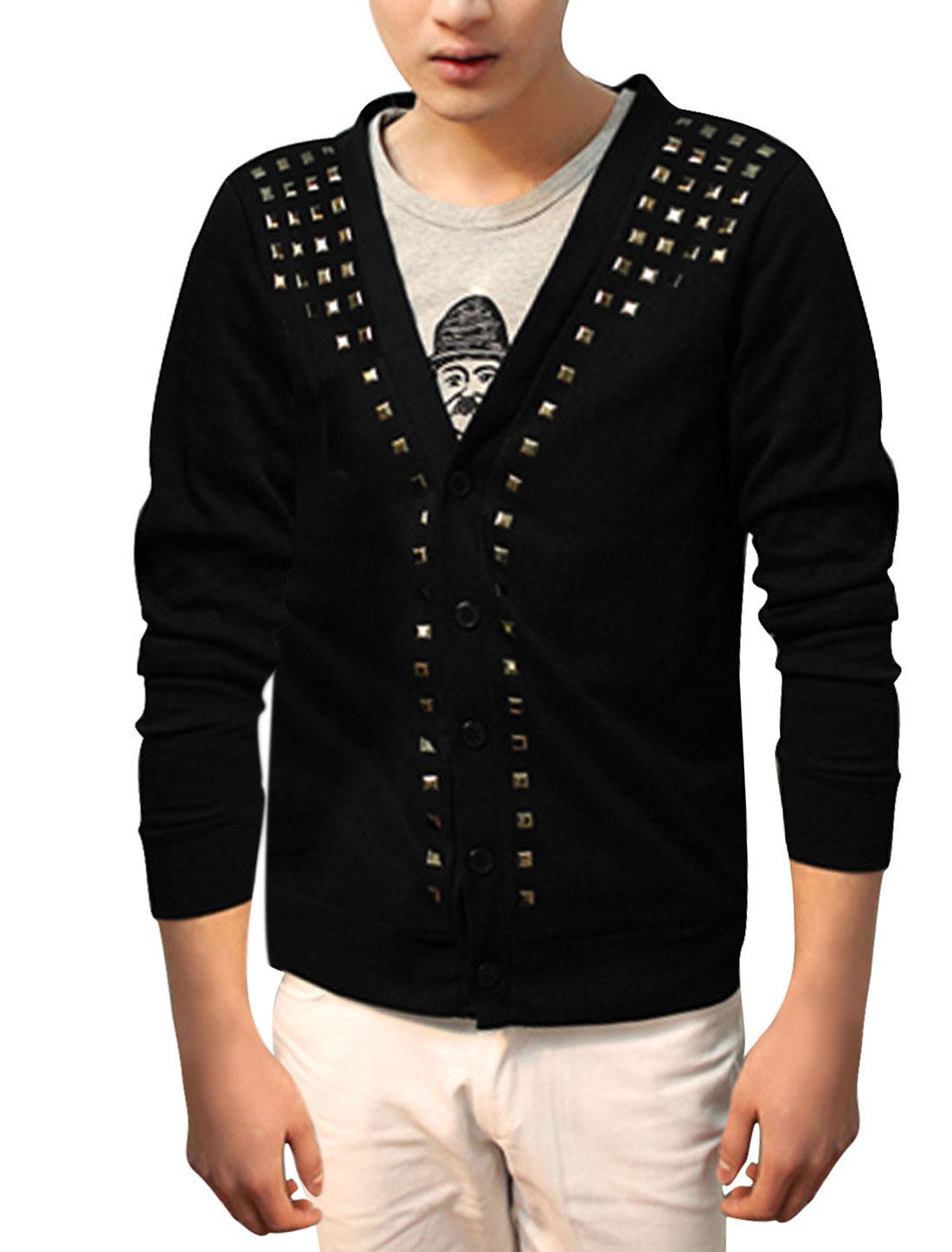 Men Deep V Neck Long Sleeved Studded Front Black Cardigan Coat S
