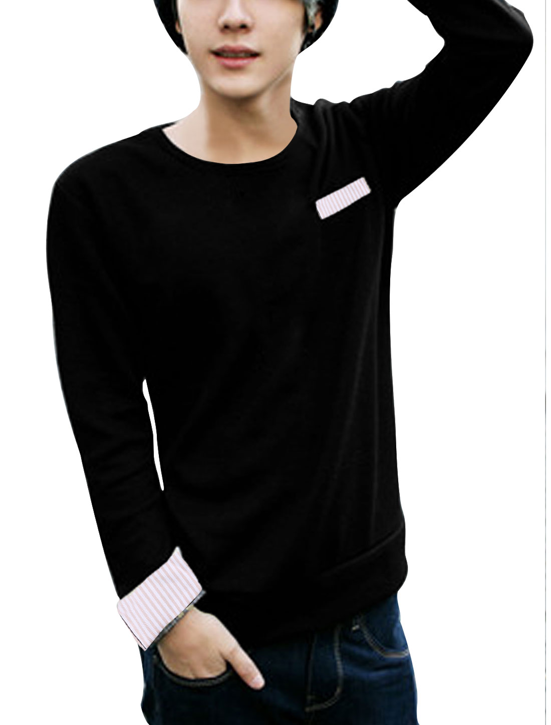 Man Round Neck Long Sleeve Stretchy Pullover Black Sweater S