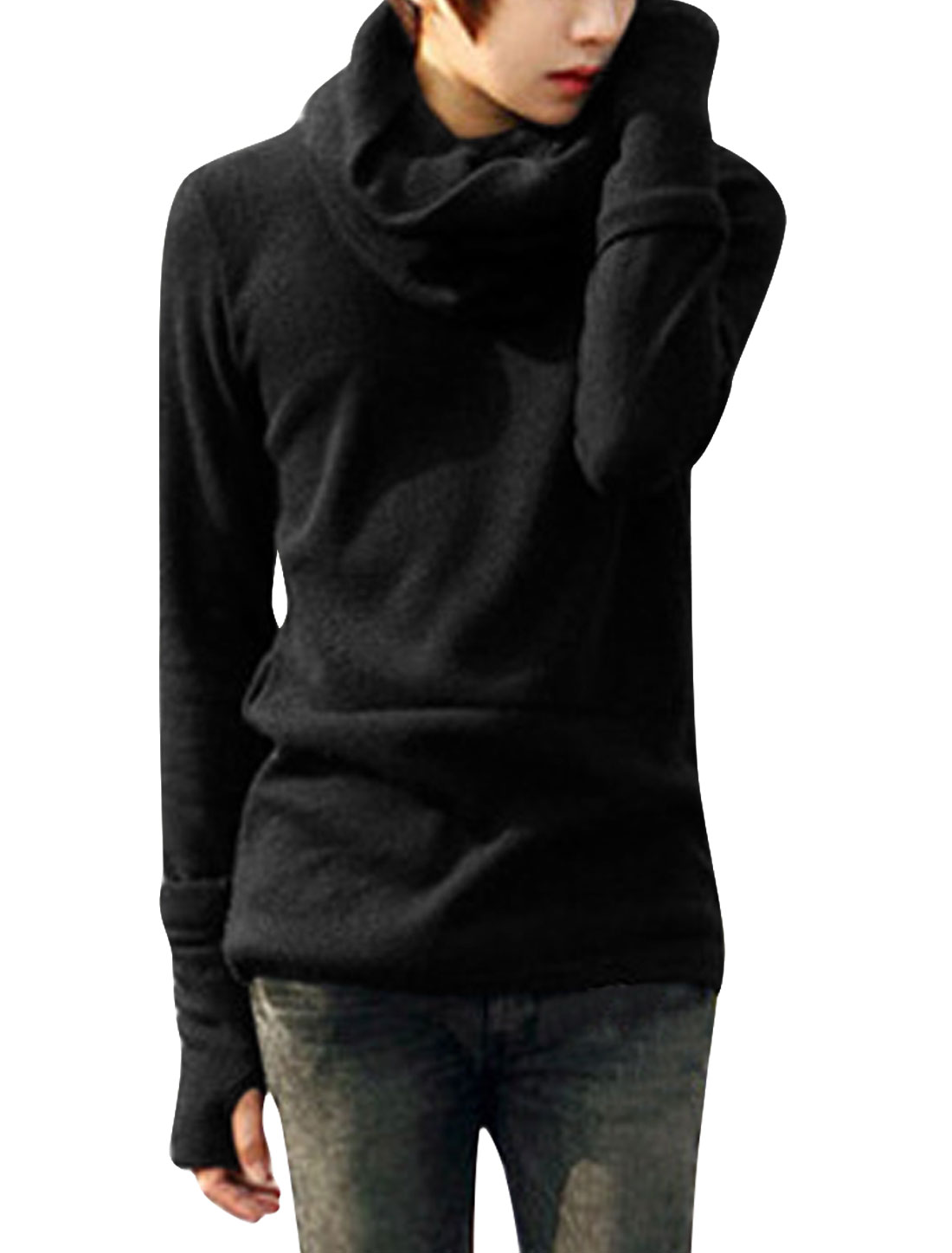 Men Round Neck Pullover Removerable Scarf Knitted Shirt Black S