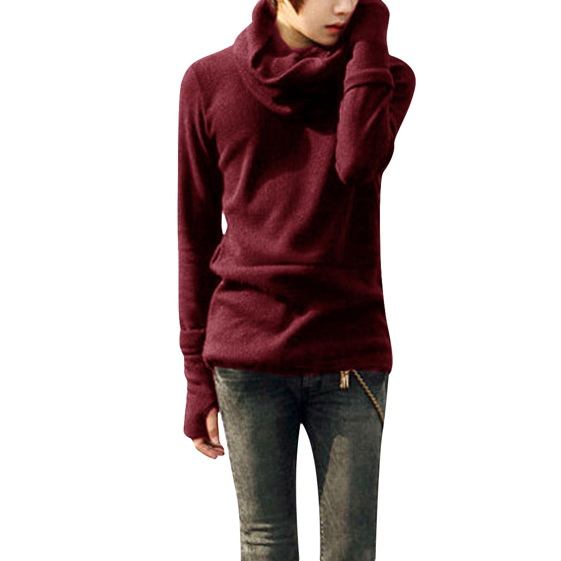 Men Long Sleeve Pullover Ribbing Elastic Knitted Shirt Burgundy S