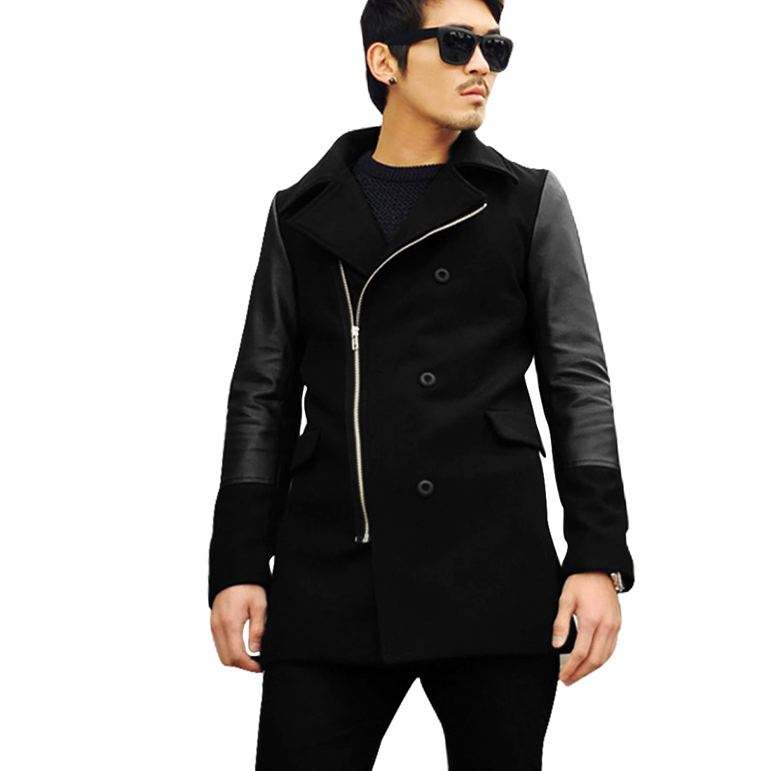 Men Zipper Closed Faux Leather Splicing Black Worsted Jacket S