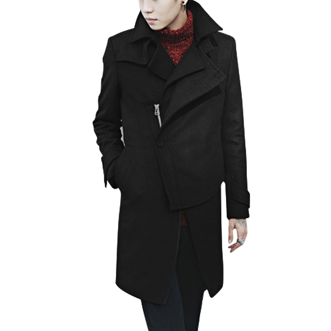 Men Inclined Zipper Long Trench Black Worsted Overcoat M