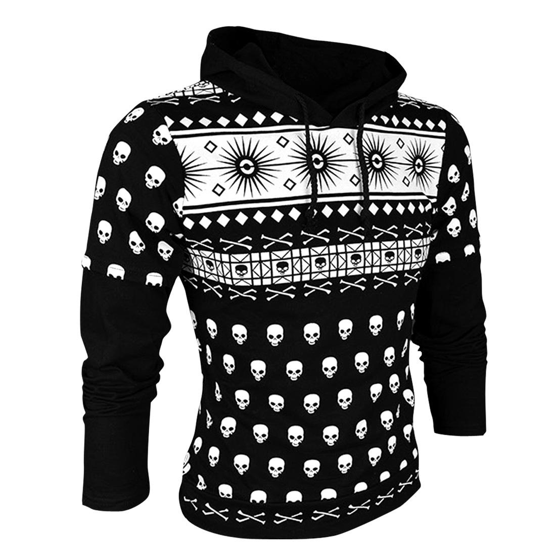 Men Long Sleeved Skull Pattern Black Hoodie Fleece Sweatshirt S
