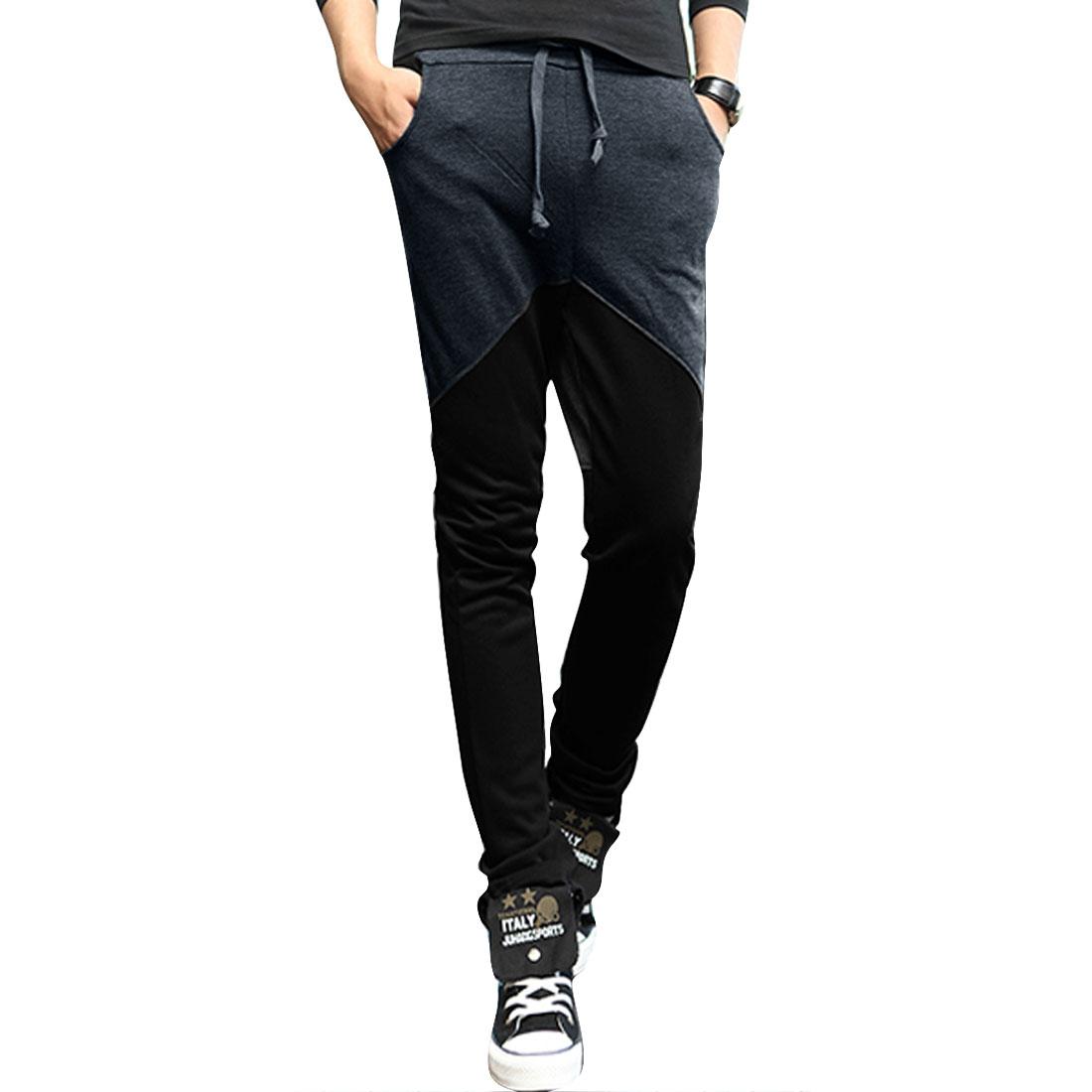 Man Dark Gray Color Block Drawstring Waist Applique Sport Pants W29