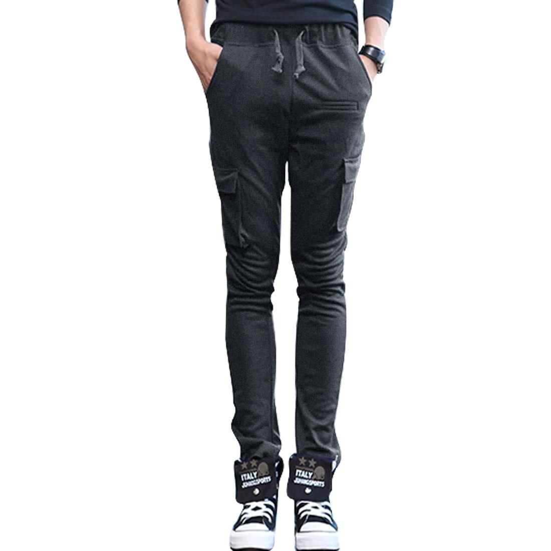 Men Stretchy Waist Straight Legs Slant Pockets Sport Pants Dark Gray W30
