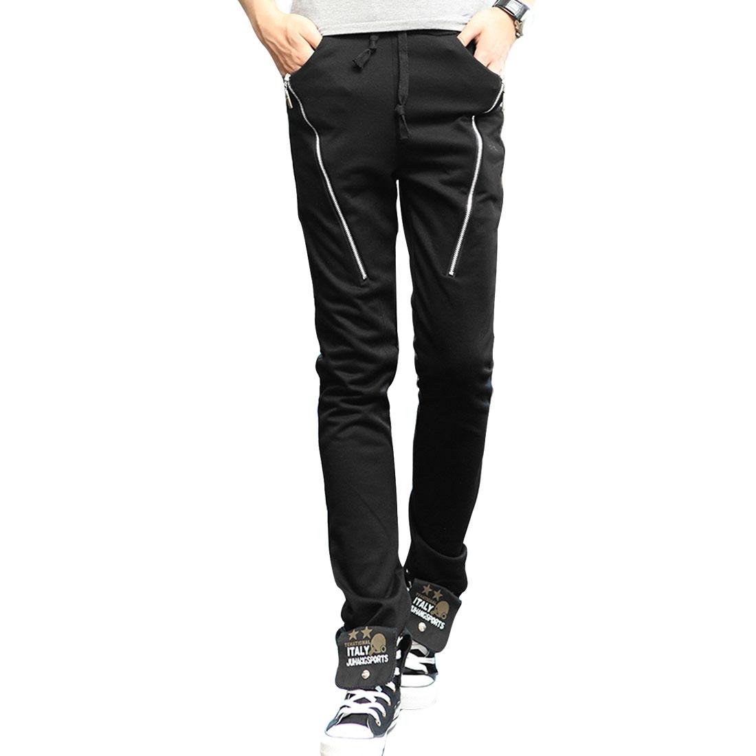 Man Elastic Waist Mid Rise Two Front Top Pockets Zipper Decor Black Pants W30