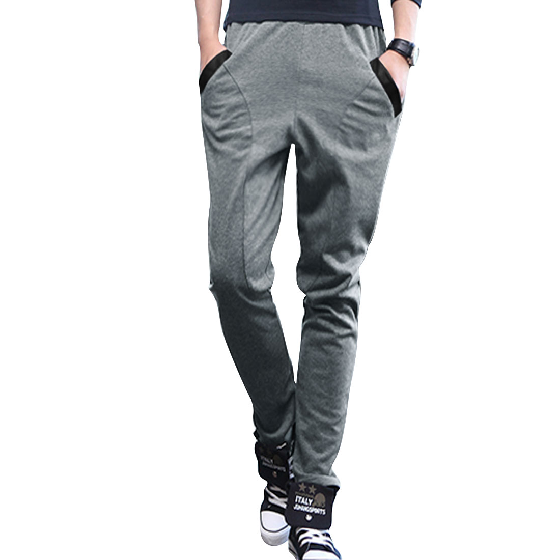Man Elastic Waist Mid Rise Two Top Pockets Front Gray Pants W27