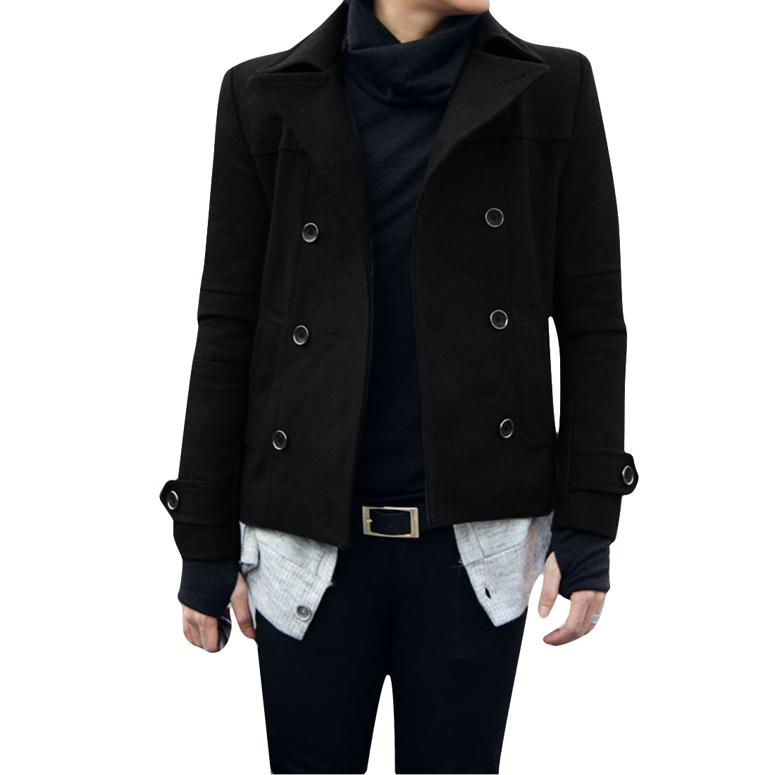 Man Convertible Collar Long Sleeve Double Breasted Black Worsted Coat S