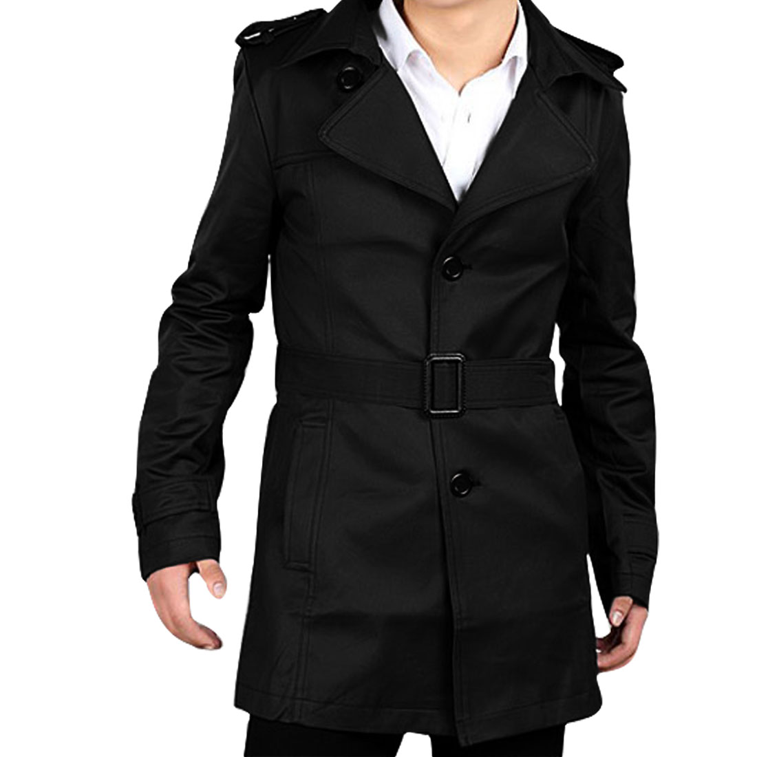Man's Fashionable Notched Lapel Single Breasted Black Belted Windbreaker M