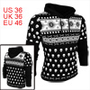 Men Long Sleeved Skull Pattern Black Hoodie Fleece Sweatshirt S