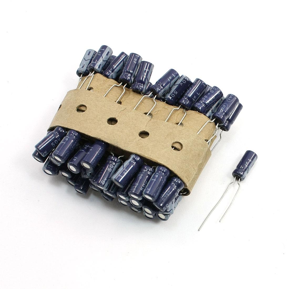 60 x 1uF 50V Polarized Aluminum Electrolytic Capacitor 5 x 10mm