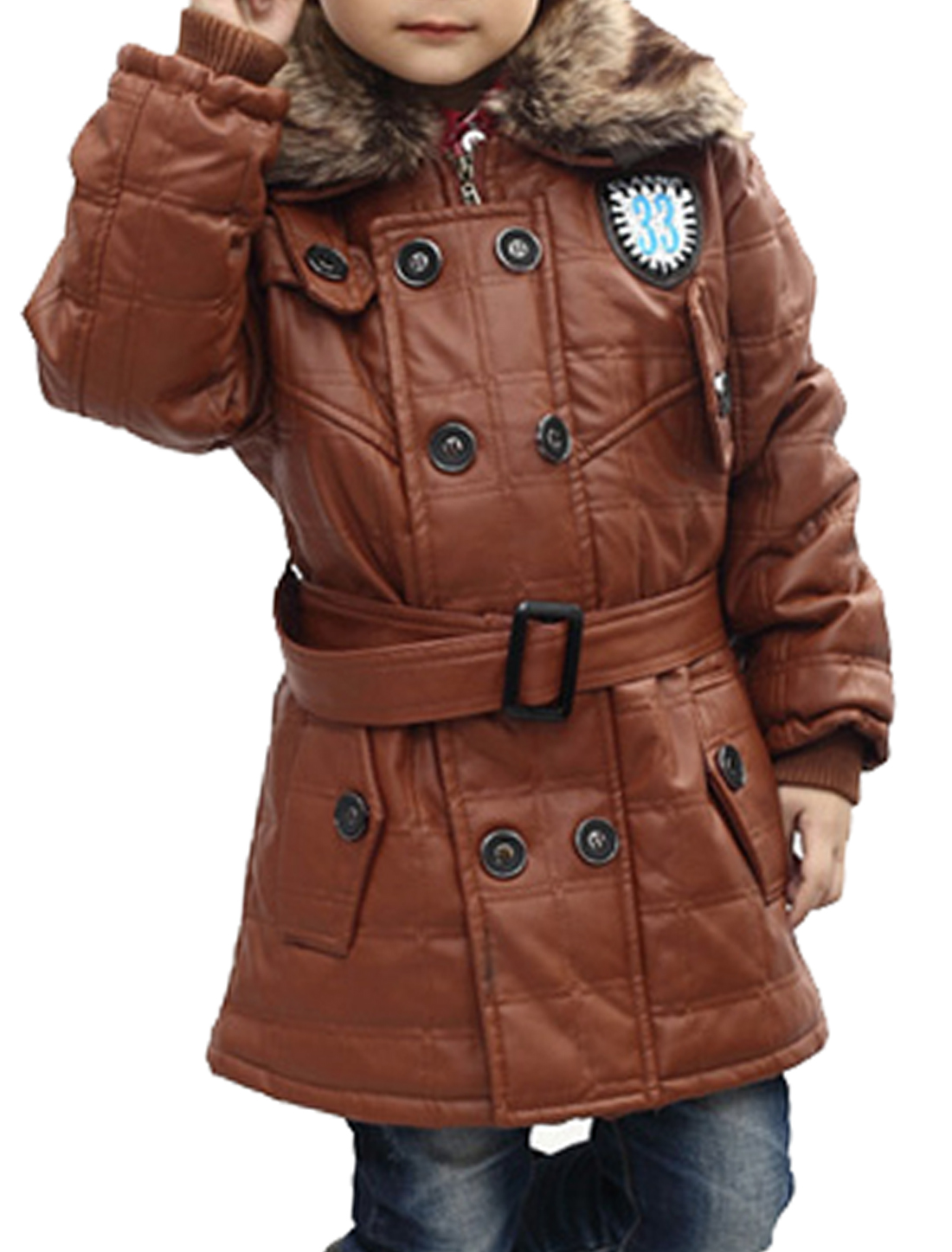 Boys Button Down Elastic Cuffs Winter Wearing Jacket Brown 10
