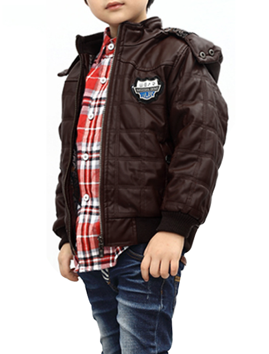 Hooded Long Sleeve Pockets Design Jacket for Boys Coffee 10