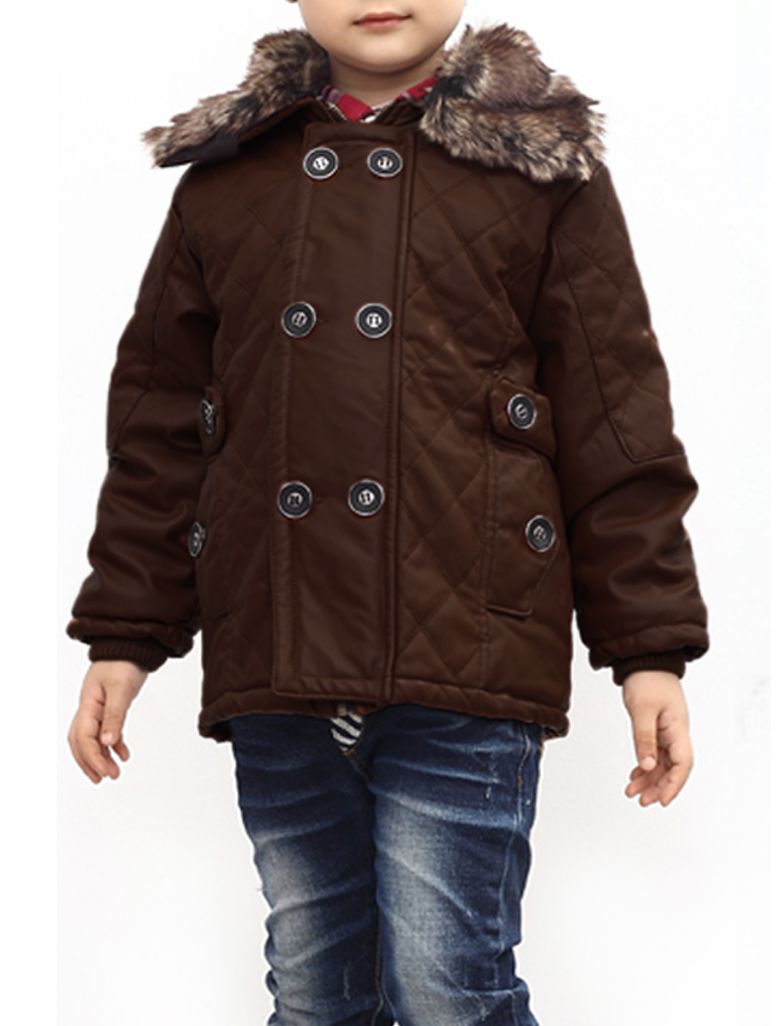 Zip Closure Small Pockets Design Jacket for Boys Coffee 10