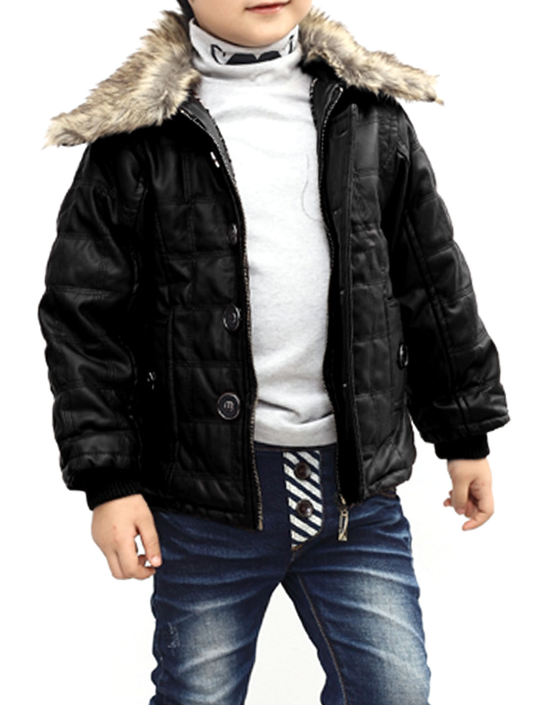 Boys Single Breasted Long Sleeve Button Decor Jacket Black 6