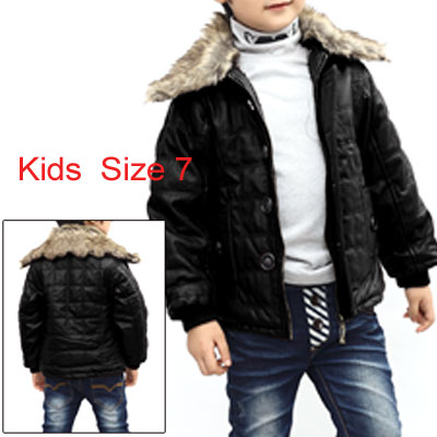 Boys Faux Fur Collar Elastic Cuffs Pockets Design Jacket Black 7