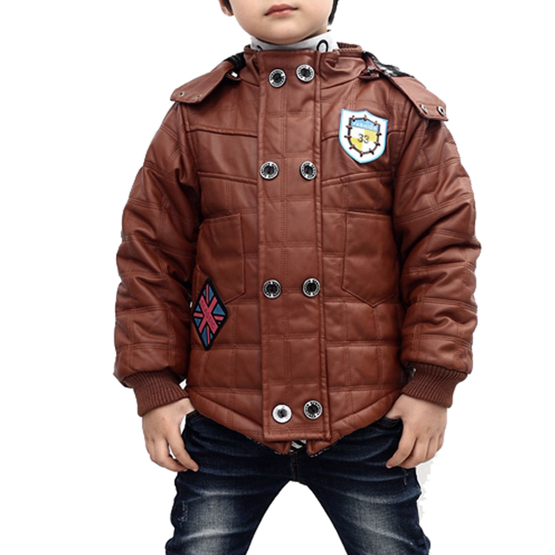 Chic Light Brown Long Sleeve Fleece Lined Faux Leather Jacket for Boys 7