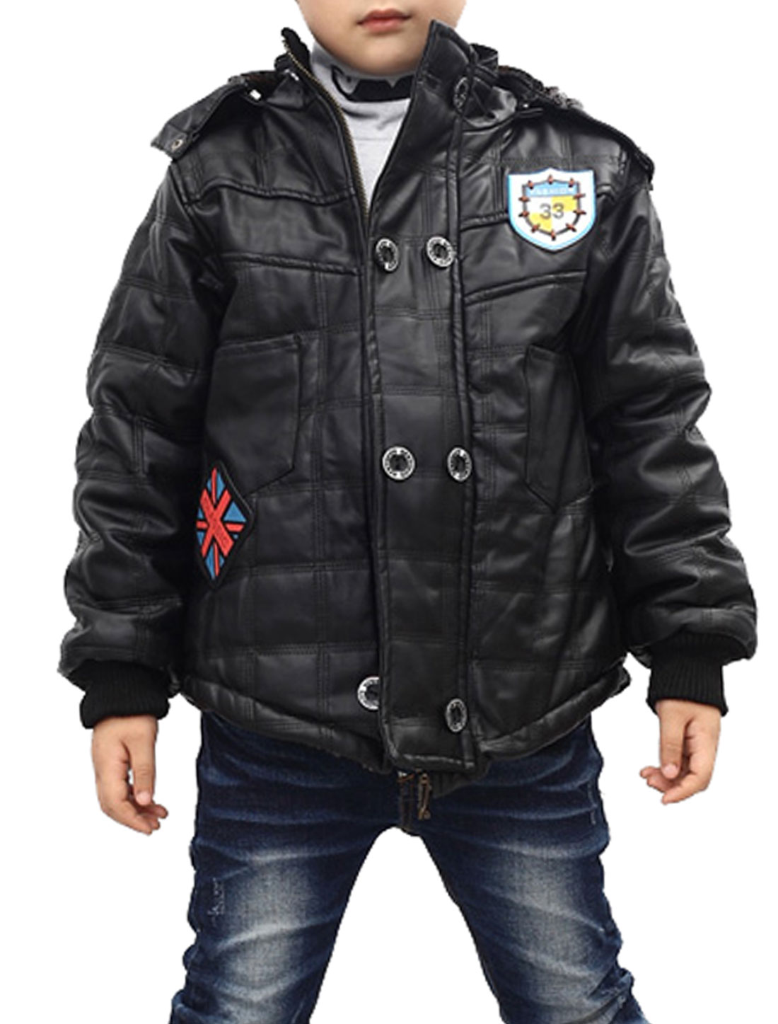 Black Color Long Sleeve Zip-Up Closure Faux Leather Jacket for Boys 6