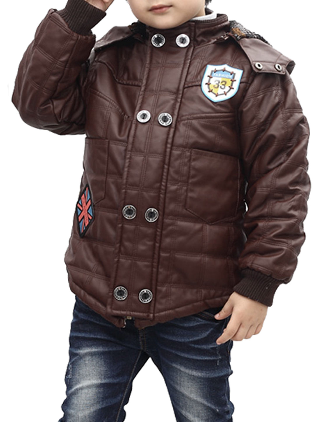 Chic Dark Brown Long Sleeve Fleece Lined Faux Leather Jacket for Boys 7