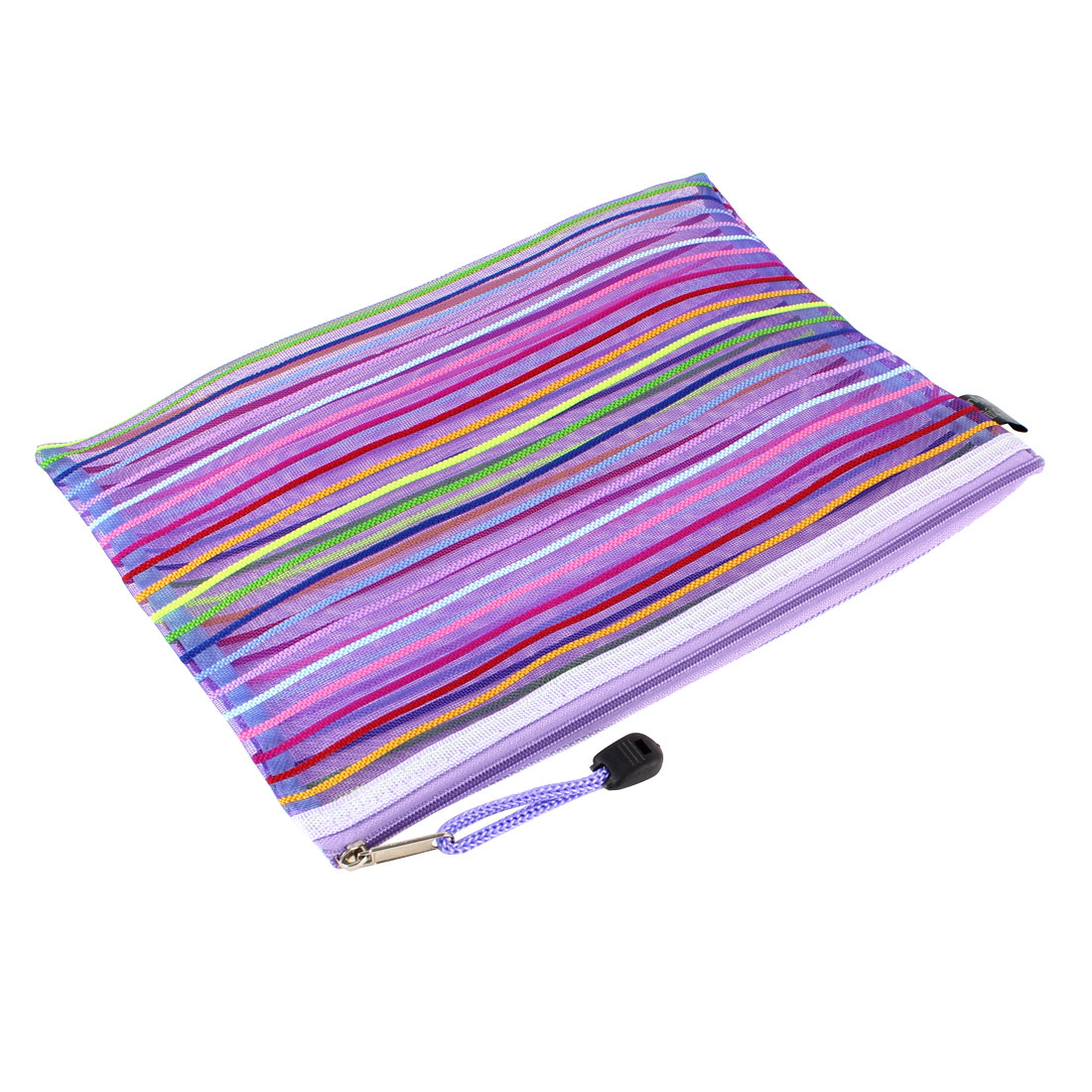 Office School Nylon Mesh Zipper Closure Stripe A5 Paper Holder Document File Bag
