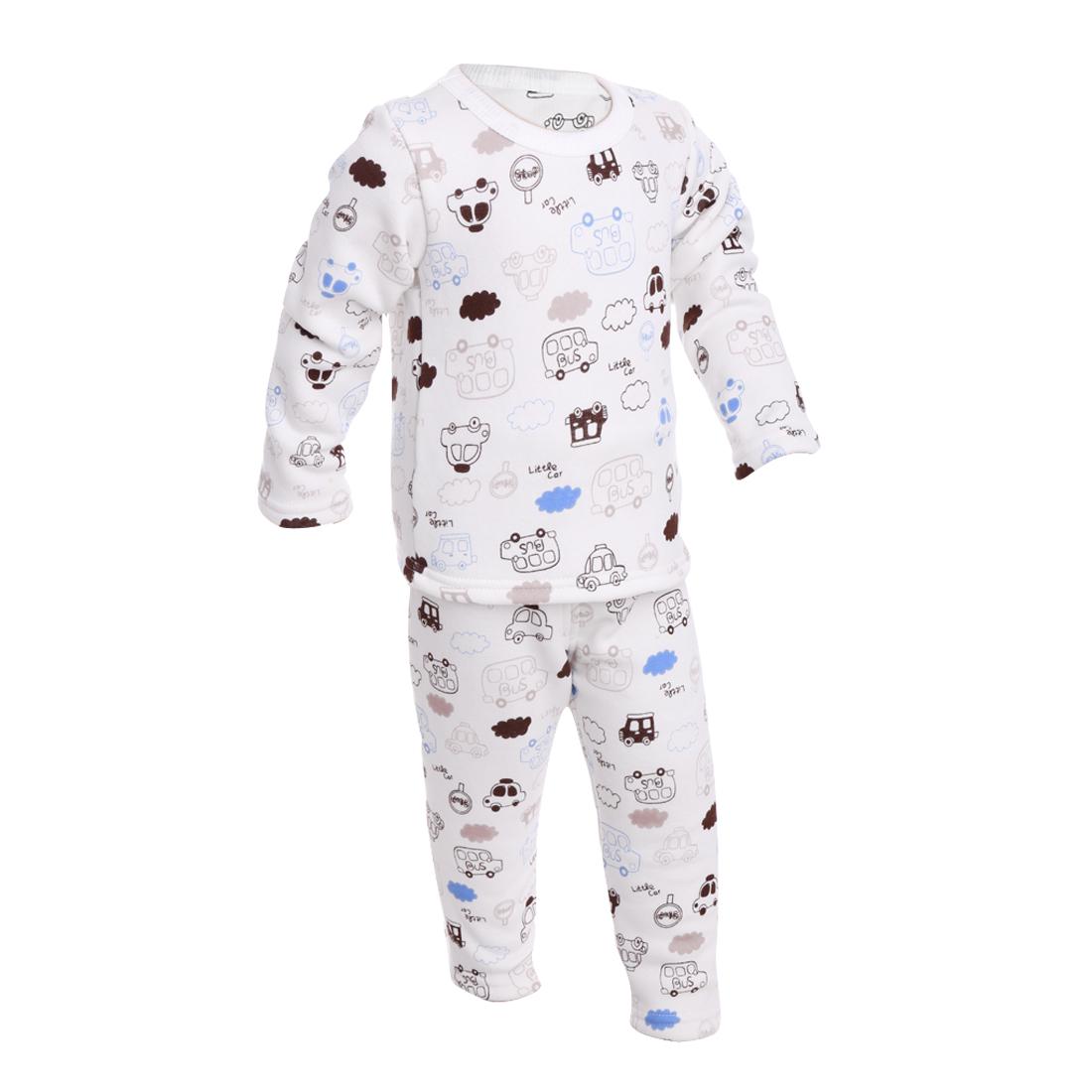 Boys Girls Round Neck Cartoon Car Pattern Pajama Sets White 18 Month