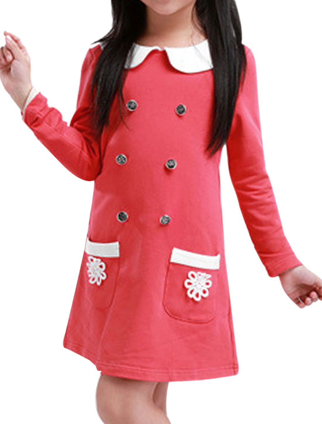 Girls Cute Doll Collar Long Sleeve Watermelon Red Spring Dress 4