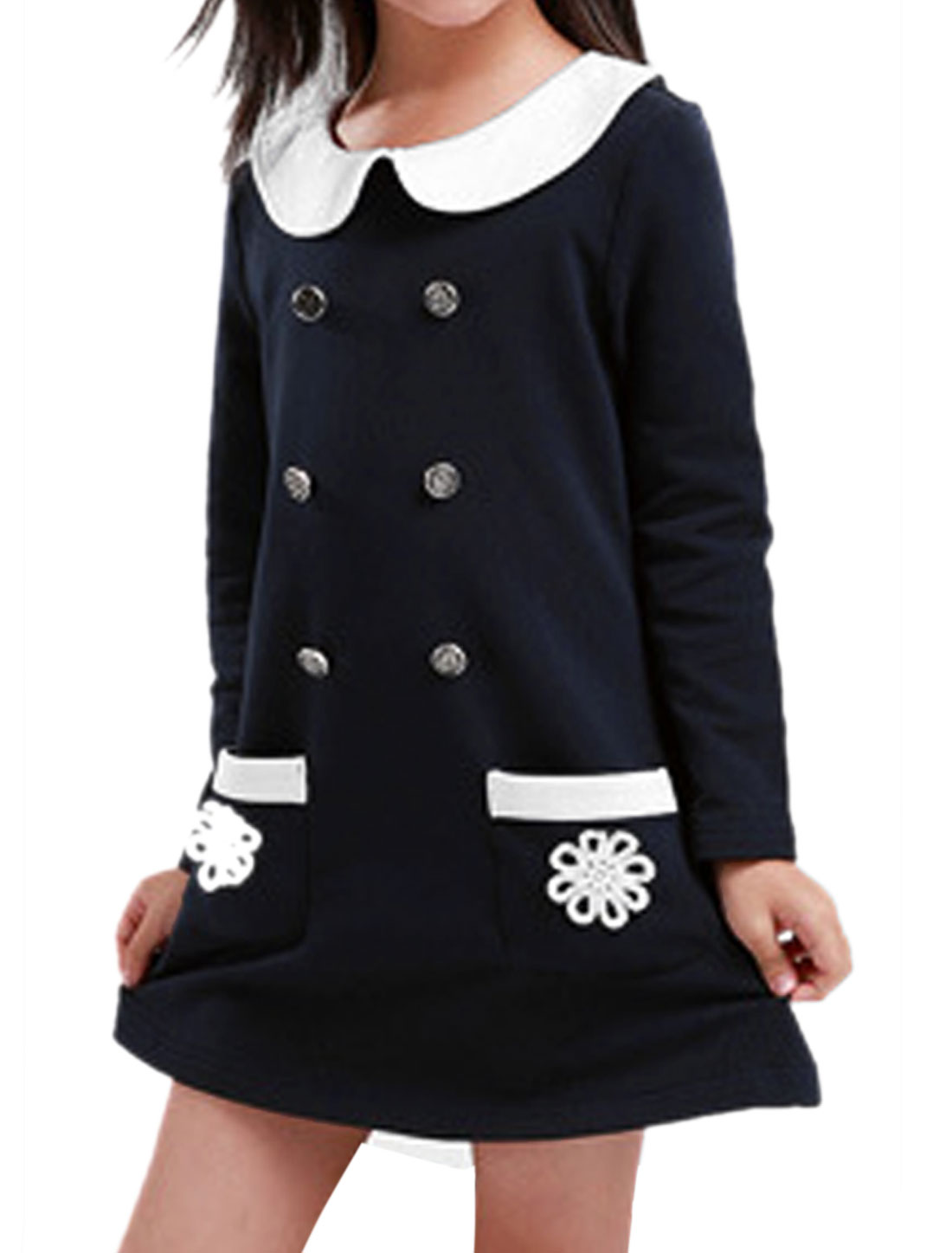 Girl Chic Peter Pan Collar Long Sleeved Dark Blue Spring Dress 4T