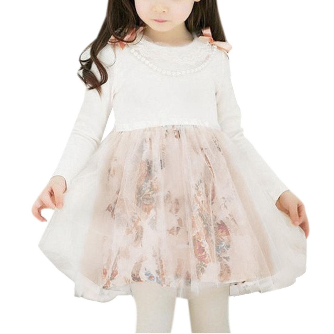 Girls Round Neck Long Sleeve Elastic Waist Fall Dress Pink White 2T