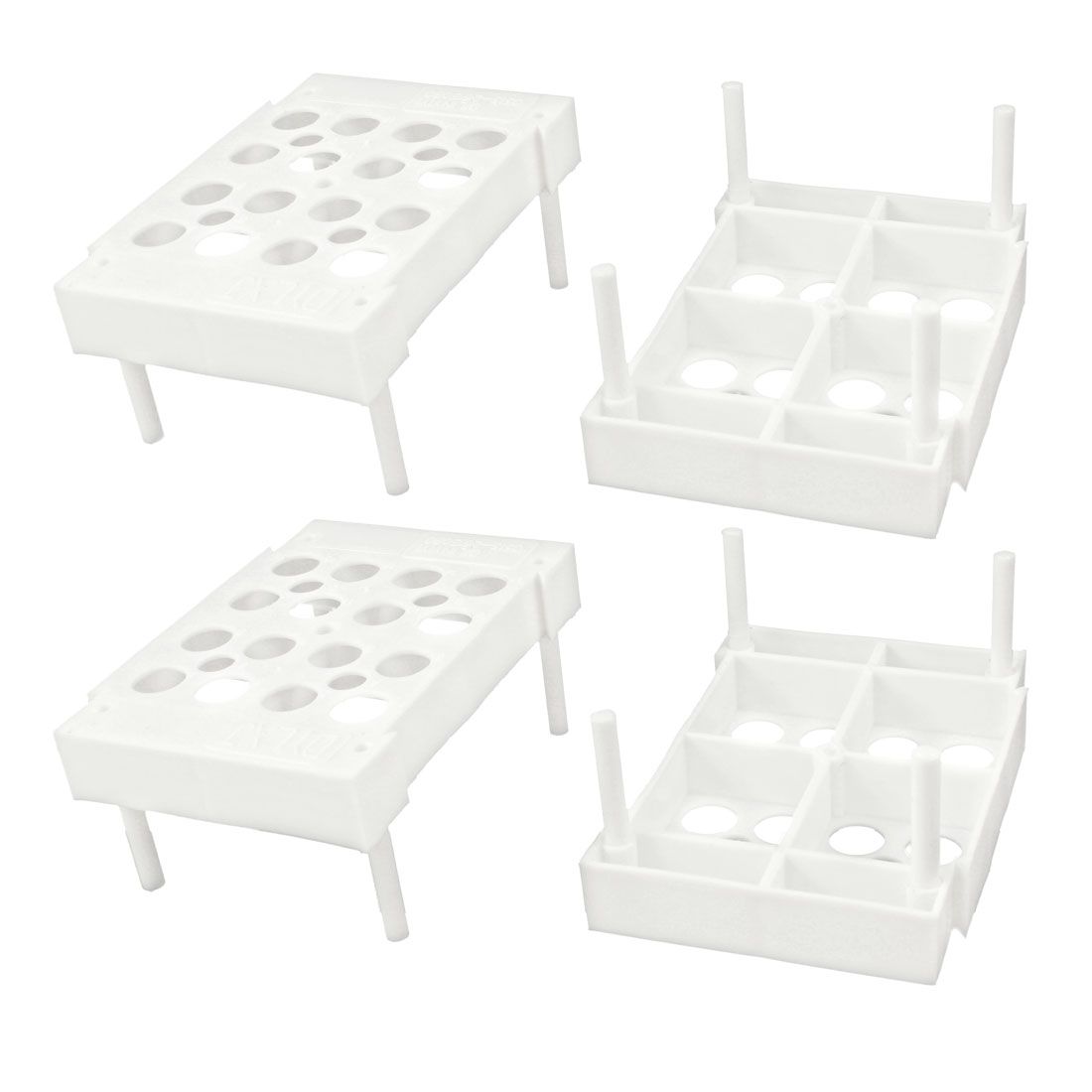 Scientific White Plastic Test Tube Rack 4 Pcs for 8mm 10mm Diameter Tubes